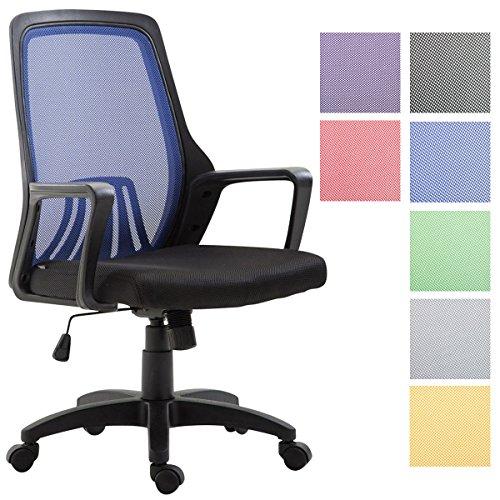 CLP Silla De Oficina Clever Tapizada En Red I Silla De Ordenador con Ruedas I Silla De Escritorio Ergonómica & Regulable En Altura I Color: Negro/Azul