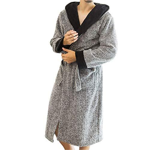 LZJDS Camisón con capucha, albornoz para hombre y mujer, pijama de forro polar coral grueso pijama suave camisón bata de casa pareja ropa de dormir vestido de mañana, color gris, S