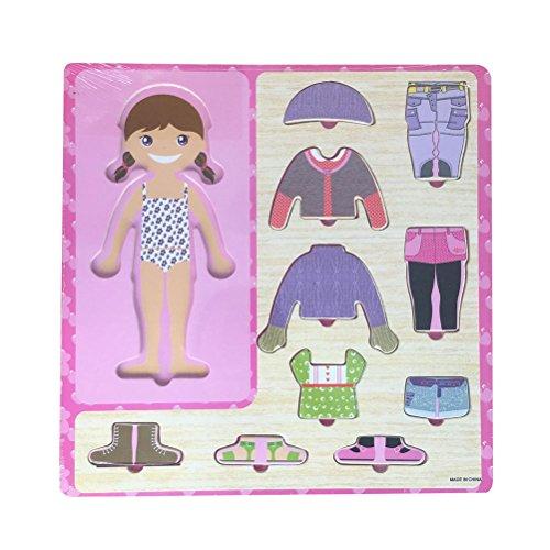 TOYANDONA Madera Peg Puzzle Girls Dress Up Puzzle Game Jigsaw Puzzle Games Peg Puzzle Juguetes educativos tempranos para niños