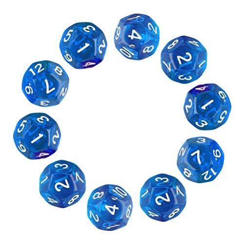 MUCHEN SHOP Würfel D12,Polyhedral Dice 10er Pack Klare 12 Seitige Würfel für DND MTG RPG Dungeons und Dragons Party 20mm Transparentes Blau