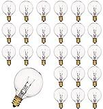 25 lampadine globo in tungsteno, attacco E12, IP44, classe UL, impermeabili, luce bianca calda, per illuminazione terrazza, 7 Watt, decorazione per feste, matrimonio, 220-240 tensione