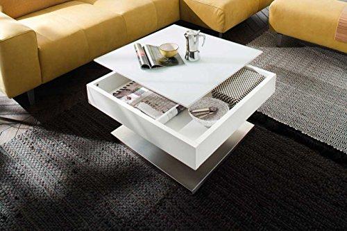 lifestyle4living Couchtisch, Wohnzimmertisch, Tisch, Sofatisch, MDF, Tischplatte drehbar, Sicherheitsglas, weiß matt lackiert, Edelstahloptik, Maße: 75/38/75 cm