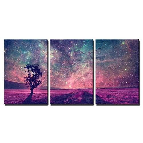 "wall26 - 3 Piece Canvas Wall Art - Red Alien Landscape with Alone Tree Silhouette in Purple Field - Modern Home Decor Stretched and Framed Ready to Hang - 16""x24""x3 Panels"