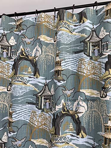 Toile Shower Curtain high end Designer Robert Allen Neo Asian Toile Cove Blue Gold Green Shower Curtain