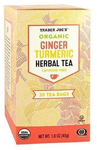 Trader Joes Organic Ginger Turmeric Herbal Tea 20 Tea Bags (One Pack)-set of 4