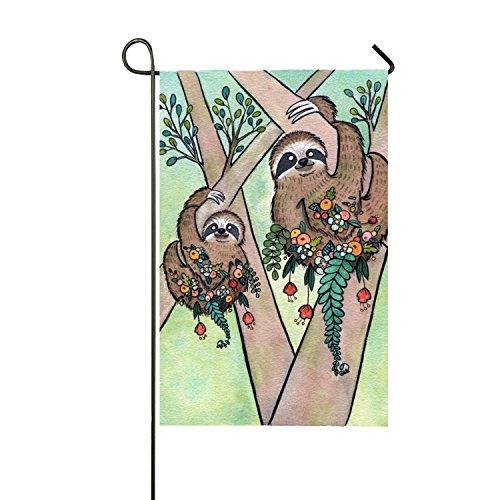 MERCHA Face Famille Drapeau Paresseux Garden Patterns Polyester extérieur Drapeau Home Party – Jardin Drapeau