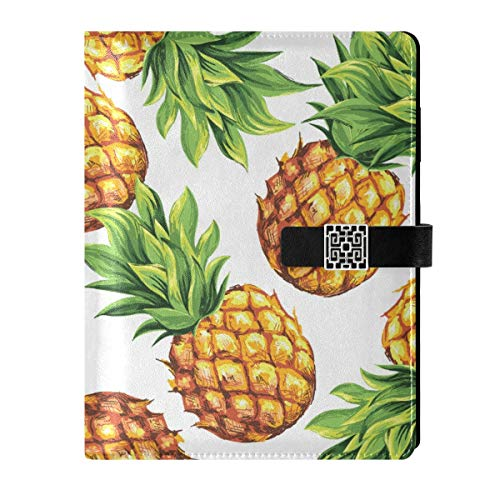 A5 Notebook Binder Journal - Tropical Palm Branches Pineapple Travel Dairy Loose Leaf with 6 Ring Refillable Notepad for Schedule Planner Draw Travelers