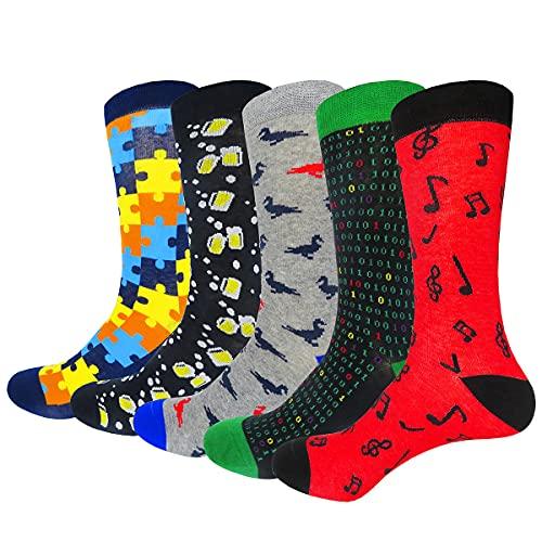 HIWEAR Vestido para hombre Colorido Diseño divertido Comodidad peinada Algodón Crew Pack de calcetines (Design-mix3)