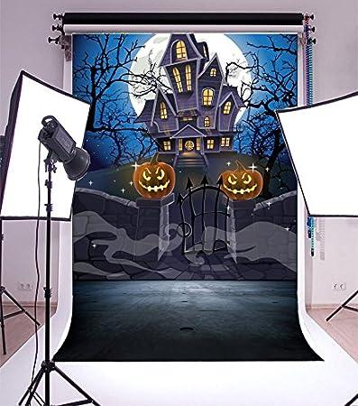 Yeele 6x8ft Halloween Backdrop Grimace Pumpkins Lantern Horror Castle Party Banner Photography Background for Picture Kids Children Baby Portrait Photobooth Shooting Vinyl Wallpaper Studio Props