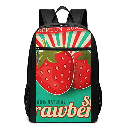 School Backpack Green Jam Strawberry Label Red, College Book Bag Business Travel Daypack Casual Rucksack for Men Women Teenagers Girl Boy