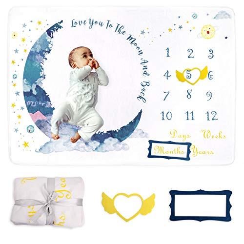 Xiangmall Manta Mensual Bebe Franela Manta de Hito Fondo de Fotografía con Marco para Recién Nacido Niños Niñas Baby Shower Regalo (Luna)