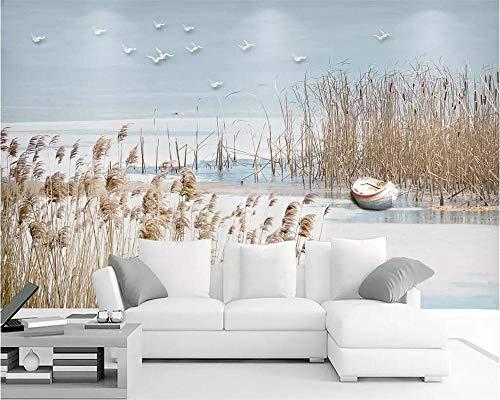 Bdhnmx-fotobehang 3D-zee riet bloemen en vogels TV achtergrond muur decoratie woonkamer non-woven print wallpaper Murals 3D 300 cm x 210 cm.