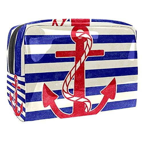 Bolsa de Maquillaje de PVC Divertida para Mujeres y niñas, con Rayas de Ancla, Bolsa de cosméticos espaciosa, Bolso con Cremallera, 7.3x3x5.1 Pulgadas