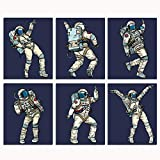 Dancing Astronauts Space Wall Prints - 6 Unframed 8x10 Artwork For Children's Room Playroom Boy Girl Nursery Office   Fun Funky Outer Space Men & Women   Music Dance Prints Posters for Bedroom Decor