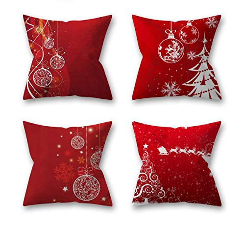 """Emvency Decorative Throw Pillow Covers Cushion 18"""" x 18"""" Inches Set of 4 Cotton Linen Red Modern Simple Festival Christmas Tree for Room Bedroom Sofa Chair Car"""