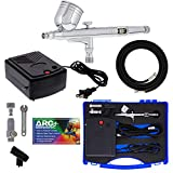 Master Airbrush Airbrushing System Kit with a G23 Multi-Purpose Gravity Feed Dual-Action Airbrush with 1/3oz. Cup and 0.3mm Tip, Mini Air Compressor, Hose, Storage Case, How-to-Airbrush ARC Link Card