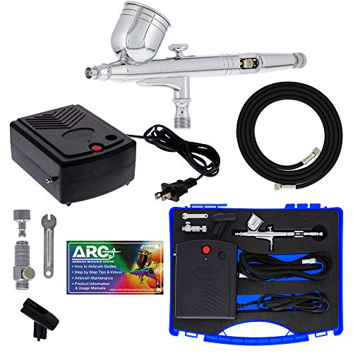 Master Airbrush Kit de sistema de aerógrafo con un aerógrafo multiusos G23 de doble acción con 1/3 oz. taza y punta de 0.012in, mini compresor de aire, manguera, caja de almacenamiento, How-to-Airbrush ARC Link Card