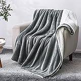 BEDELITE Sherpa Fleece Blanket Twin Size, Grey Throw Blankets for Couch & Bed, 480GSM Super Soft Plush Microfiber Fuzzy Blanket, Velvet Plush/Wool Like Warm Spring Throw Blanket