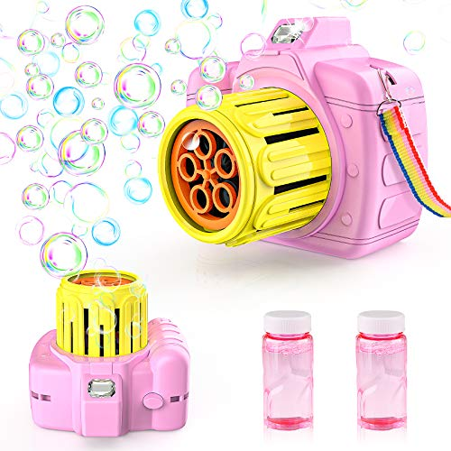 Betheaces Bubble Machine Toys for Kids Toddlers Boys Girls, Automatic Bubble Blower with Bubble Solution Portable Bubble Maker Toy Gift for Children Birthday Party (Pink)