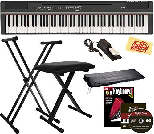Yamaha P-125 Digital Piano - Black Bundle with Adjustable Stand, Bench, Sustain Pedal, Dust Cover, Instructional Book, Austin Bazaar...