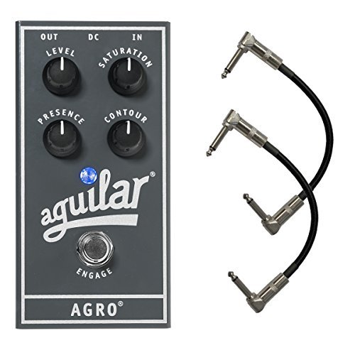 Aguilar AGRO Bass Overdrive Distortion Effect Pedal Bundle with 2 Free Patch Cables [並行輸入品]