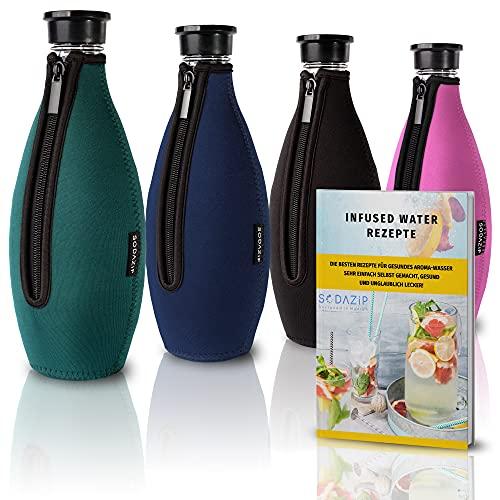 SODAZiP Premium Schutzhülle für SodaStream Crystal Glaskaraffe - Bruchschutz Neopren Hülle für Soda Stream Glasflaschen - Zubehör für unterwegs (Grün)