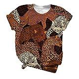 Damen Sexy T-Shirt Vintage Leopard Schmetterling Drucken Rundhals Kurzarm Oberteil Casual Lose Tshirt Bluse Frauen Retro Sommer Lang Tops Verschenken Freunde Schwestern Familie Geschenke Hemd Tunika