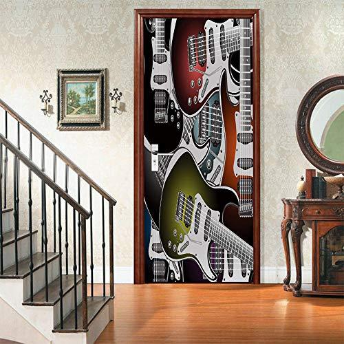 QHOXAI Pegatinas Decorativas De Puerta Autoadhesivo 3D Guitarra Eléctrica Creativa Arte Moderno...