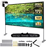 JinHuiCheng Projector Screen with Stand Portable Projection Screen 16:9 for Indoor Outdoor Home Theater Backyard Cinema Trave (120inch)