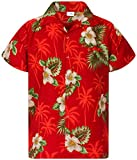 King Kameha Funky Chemise Hawaienne, Small Flower, Rouge, S