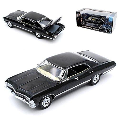 Greenlight Chevrolet Impala Sport Sedan Limousine Schwarz Supernatural Join The Hunt 1965-1970 1/24 Modell Auto mit individiuellem Wunschkennzeichen