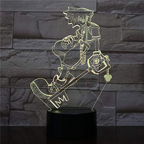 Lampe LED 3D Night Light,lumières décoratives multicolores garçons enfants bébé cadeaux jeu Kingdom Hearts lampe de table cadeau de chevet