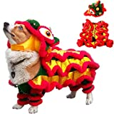 Dog Costume Cute Lion Dance Dog Costume with Beast Horn Chinese New Year Cat Dog Clothes for Small Medium Dogs Pet Costume Lion Dance Dragon Dance Clothing Great for Halloween, Christmas and Cosplay