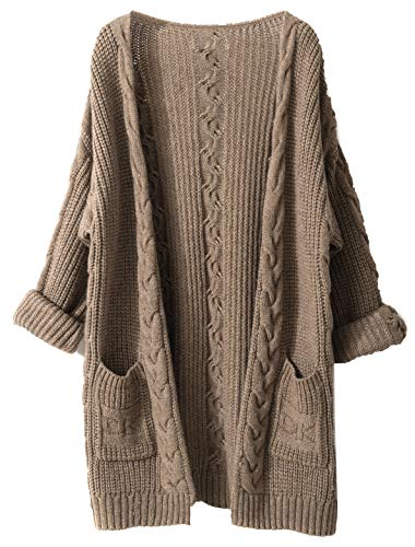 LinyXin Cashmere Damen Strickjacke Kaschmir Rundhals Langarm Lose Winterjacke Wolle Pulli Sweater Warm Pullover (L / 42-44, Kamel)