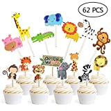 Jungle Safari Animal Cupcake Toppers Picks - 62pcs Animal Theme Party Decorations Zoo Animals Cake Decorations Animal Theme Party Supplies for Kids Birthday Baby Shower Animal Theme Party Decorations