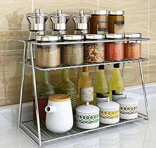 RIVERA Stainless Steel Spice 2-Tier Trolley Container Organizer Organiser/Basket for Boxes Utensils Dishes Plates for Home (Multipurpose Kitchen Storage Shelf Shelves Holder Stand Rack)