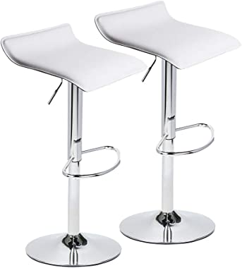 Set of 2 Adjustable Swivel Barstools, PU Leather with Chrome Base, Gaslift Pub Counter Chairs ,White