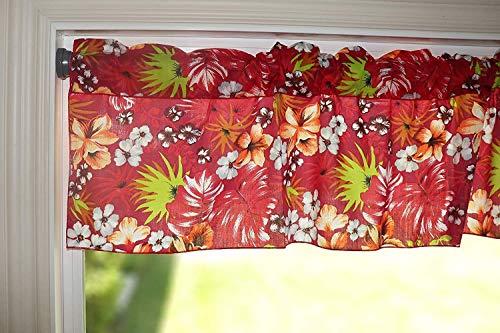 OLIVOYO , Cenefa de algodón con estampado floral tropical hawaiano, perfecto para cocina, dormitorio, salón de clases, cenas,...