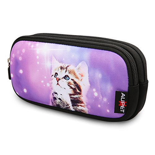 AUPET Pencil Case, Large Capacity Pencil Bag with Two Compartments Durable Zipper Students Stationery Pen Bag for Pens, Pencils, Markers, Eraser and Other School Supplies (Purple Wish Cat)