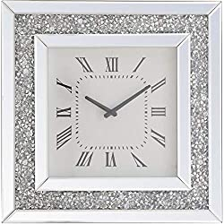 Elegant Lighting 20 in Square Crystal Wall Clock in Clear
