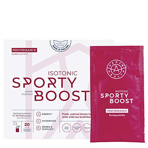 Aarja Health Natural Sports Energy Drink Powder – Isotonic Sporty Boost Performance – Lemon + Sea Buckthorn – Optimal Mix of Carbohydrates, Electrolytes, BCAA, Magnesium and B12 – 100% Pure & Vegan