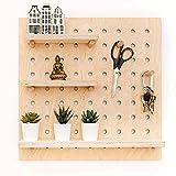 Generic Pegboard – Estantería de madera, organizador de pared, 50 x 50 cm, para oficina, hogar (natural)