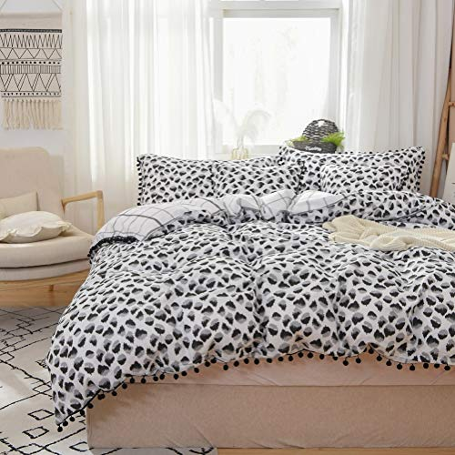 Softta Black and White Duvet Cover Queen Leopard Bedding 3 Pcs Ruffle Animal Print Dots Printed for Boys Teens Girls Kids 100% Pure Cotton with Zipper Ties