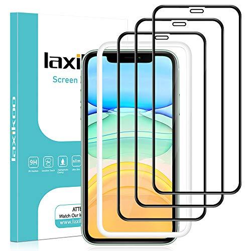 laxikoo 3 Stück Full Screen Panzerglas für iPhone 11 /iPhone XR, 9H Härte Panzerglasfolie Mit Positionierhilfe [Blasenfrei] [Volle Deckung] [Anti-Kratzen] Schutzfolie für iPhone 11 /iPhone XR - 6.1''