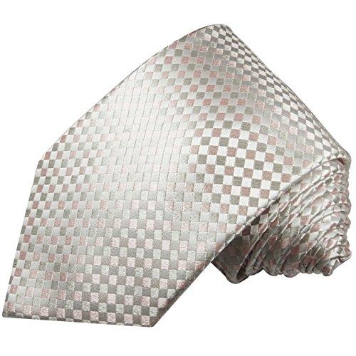 Paul Malone Krawatte silber pink karierte Seidenkrawatte extra schmale 6cm