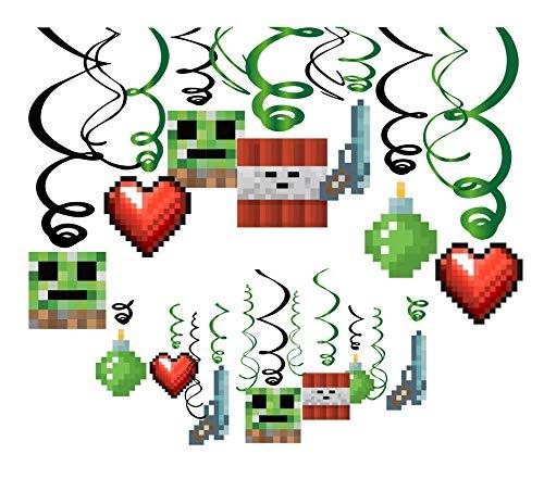 30Ct Pixel Mine Hanging Swirl Decorations - Pixel Mine Birthday Party Supplies Fan Decors