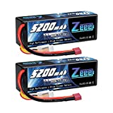 Zeee 11.1V 80C 5200mAh 3S Lipo Battery with Deans Plug Hardcase Battery for RC Car Boat Truck Helicopter Airplane Racing Models(2 Packs)