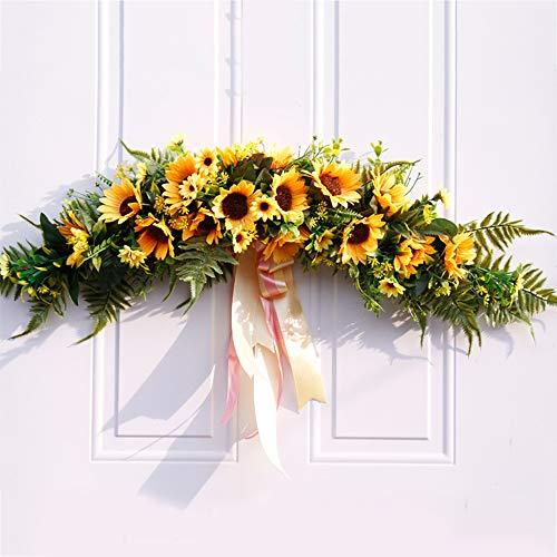 SMLJFO Guirnalda de flores artificiales de limón de 30 pulgadas de primavera/verano con cinta de margaritas y hojas de eucalipto para decoración de pared de boda, hogar, fiesta