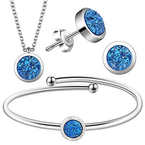 Lictin Juegos de Joyas Mujer -Conjunto de Collares Pulseras Pendientes para Mujer con Joyero para Cumpleaños Navidad San Valentín Regalo de Boda (Azul)