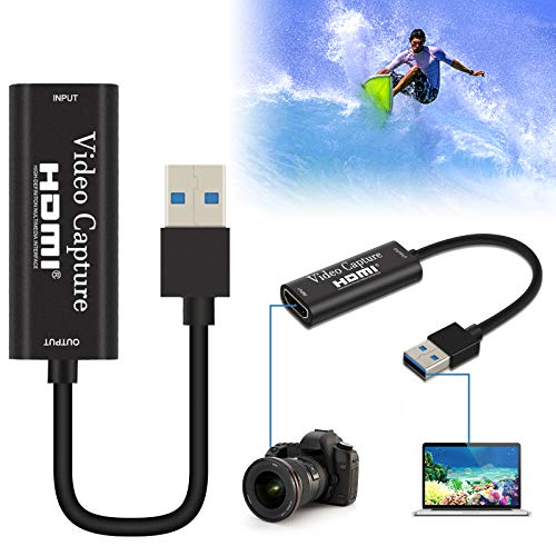 Audio Video Capture Card,HDMI to USB 3.0 HD 1080P Video Capture Adapter Directly to Computer for Gaming,Streaming,Teaching,Video Conference or Live Broadcasting, Supports PC,Phone,PS4,XBOX,Camcorder